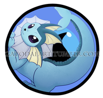 Vaporeon button by Gatodae