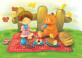 Having Picnic with Teddy by mariable