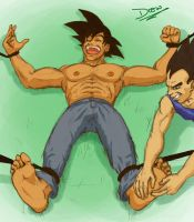 Goku tickled by Vegeta by pineomatic