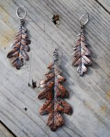 White Oak Leaf Set in Copper by DreamingDragonDesign