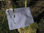 Blue and White stripe coin purse by sewn-by-honeybirds
