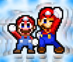 Classic Mario and Modern Mario by FaisalAden