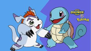 Squirtle vs gomamon mugen by arineu