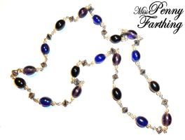 Purple and Blue Bead Necklace by MissPennyFarthing