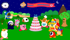 Kirby's 25th anniversary by DarkDiddyKong