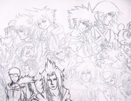 Kingdom Hearts II Final Mix Lineart by samui153