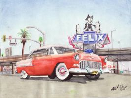 55 Belair At Felix Chevrolet by FastLaneIllustration