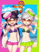 Summer Squid Sisters by bellhenge