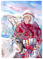A girl and her reindeer by Zaronen