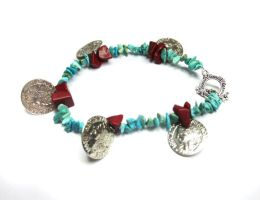 Turquoise and Jasper Bracelet by MyArtself