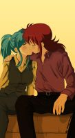 Kurama x Botan Kiss by barbypornea