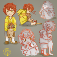 Young Momotarou Mikoshiba and Baby Otter Free!! ES by TaffyVib