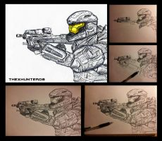 Halo- Noble 6 Pen Sketch (w/ Process) by TheXHunter08