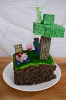 Minecraft Dirt Block Cake by Malicrss