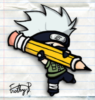 Chibi Kakashi With Pencil by FrothyB