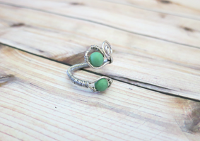 Adjustable Jade Wire Wrapped Ring by lovebirdcreations