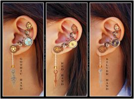 Steampunk Clock Hand ear cuffs by Meowchee