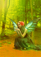 Photomanip:Fairy in the forest by Bilboxx