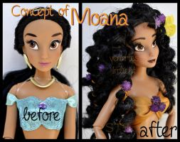 repainted ooak concept of moana waialiki doll. by verirrtesIrrlicht