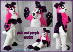 pink n purple canine suit by PlushiePaws