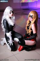 Miss marvel  and black  cat by Sakurith
