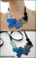 Winter Blues Crystal Molecule Necklace by Natalie526