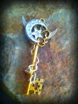 Crystal Moon Fantasy Key Pendant by ArtByStarlaMoore