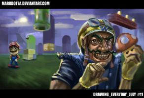 Wario Trolling Mushroom Kingdom SKETCH by Markdotea