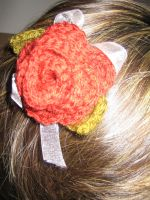 Red Rose Crochet Hair Clip by RisuKim