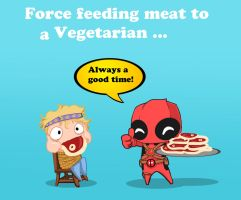 Deadpool and Vegetarians by Dino-blankey