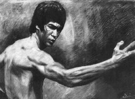 Bruce Lee Charcoal by monkeydawang