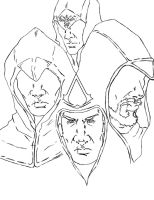 Assassin's Creed- Desmond an his Ancestors:Lineart by fenrirthomasb