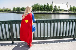 Outside the Hall of Justice: Super GIrl by spritepirate