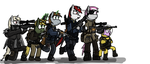 Six main characters by DerpiWolf