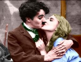 Charlie and Edna Kiss Colorize by ajax1946