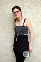 Polka Dot top refashion front by tinkelstein
