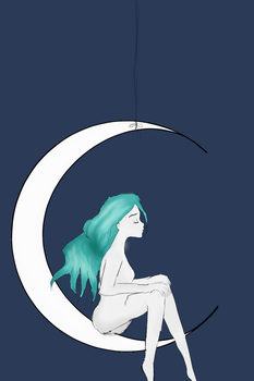 Resting on the moon by TheInkLady