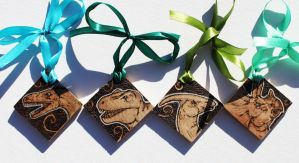 Pyrography Dinosaur Tokens by BumbleBeeFairy