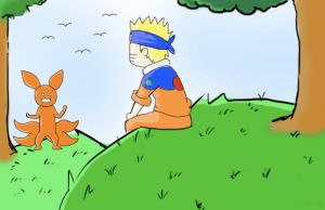 naruto and the fox by freak-nc