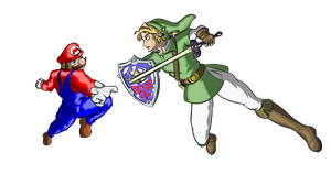 Mario VS link -simple- by BloodyCoat