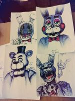 Five nights, four drawings, three games. by WheatPodlaska
