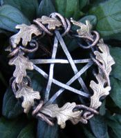 Fall Leaf Wreath Pentacle by MoonLitCreations