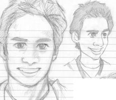 Zach Braff and JD caricature by Trilliah