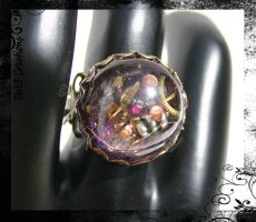 Purple Steampunk Gear Ring by kelleejm1