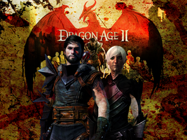 DA2: Bloody Hawke and Fenris by suicidebyinsecticide