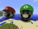 Mario and Luigi in Minecraft by chickenmobile