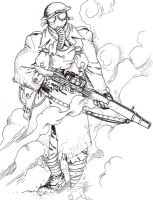 WW1 machine-gunner by tanyk