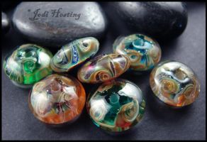 Moon Jewels - Lampwork Glass Beads by andromeda