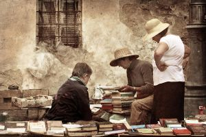 Open book market in Lviv by Cambion-Art