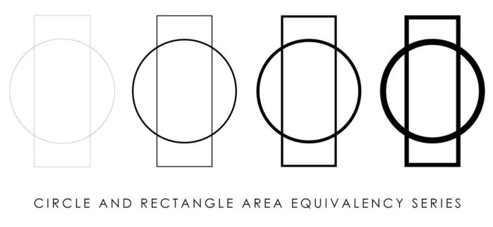 CIRCLE AND RECTANGLE AREA EQUIVALENCY SERIES by INFINITE-IDEA
